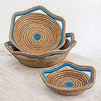 Pine needle baskets, 'River Waves' (set of 3) - Set of 3 Handmade Nicaraguan Blue Trim Pine Needle Baskets