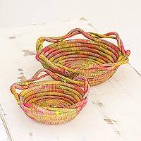 Pine needle baskets, 'Spontaneous Joy' (pair) - Two Multicolored Pine Needle Baskets from Nicaragua