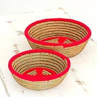 Pine needle baskets, 'Red Vibrancy' (pair) - Hand Made Pine Needle Baskets Red (Pair) from Nicaragua