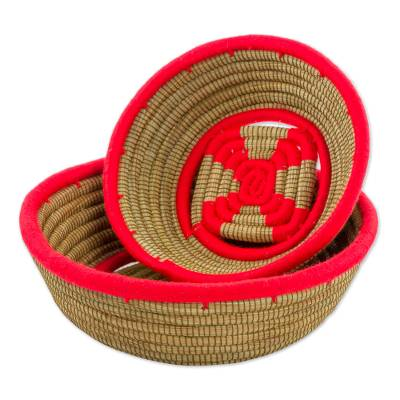 Hand Made Pine Needle Baskets Red (Pair) from Nicaragua