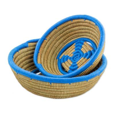 Two Handcrafted Blue Rim Pine Needle Baskets from Nicaragua