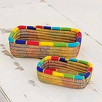 Pine needle baskets, 'Multicolored Managua' (pair) - Two Rainbow Trim Nicaraguan Handwoven Pine Needle Baskets
