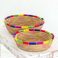 Pine needle baskets, 'Round Latin Rainbow' (pair) - Round Multicolored Pine Needle Baskets (Pair) from Nicaragua