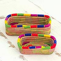 Pine needle baskets, 'Latin Rainbow' (pair) - Two Multicolor Rectangle Pine Needle Baskets from Nicaragua