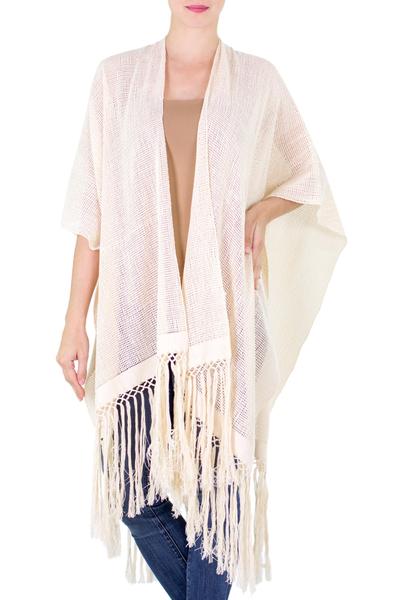 Cotton ruana kimono, 'Naturally Free in Ivory' - Ivory 100% Cotton Kimono from Guatemala