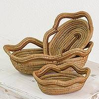 Pine needle baskets, 'Forest Trail' (set of 3) - Set of 3 Hand Made Oval Pine Needle Baskets from Nicaragua