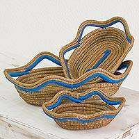 Pine needle baskets, 'Wavy Ocean' (set of 3) - Set of 3 Handwoven Blue Accent Pine Needle Baskets