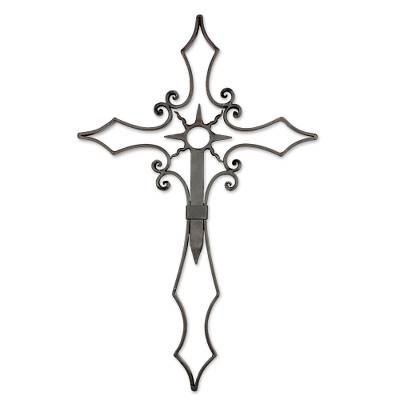 Iron wall cross, 'Radiant Devotion' - Black Iron Wall Decor of a Cross from Guatemala