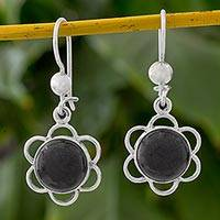 Jade dangle earrings, 'Country Flower' - Black Jade Flower Shaped Dangle Earrings from Guatemala