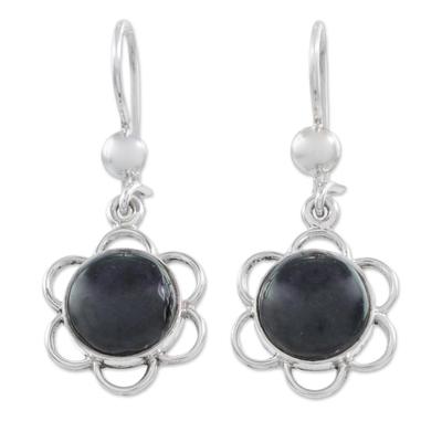 Jade dangle earrings, 'Country Flower' - Black Jade Flower Shaped Dangle Earrings from Guatemala