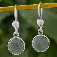 Jade dangle earrings, 'Smooth Circles' - Green Jade Circular Dangle Earrings from Guatemala