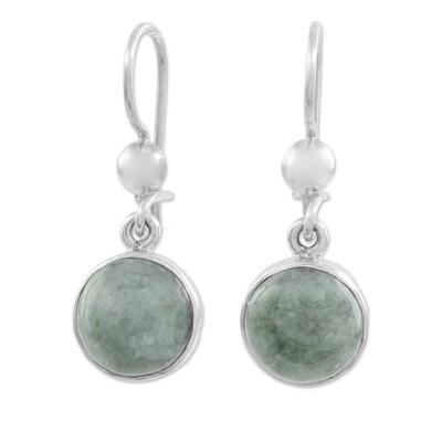 Jade dangle earrings, 'Smooth Circles' - Green Jade Circular Dangle Earrings from Guatemala