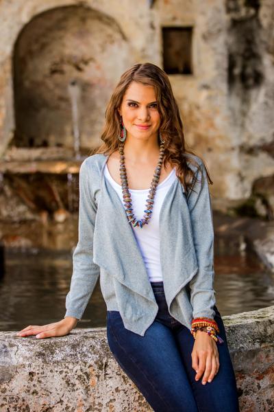 Cotton cardigan sweater, 'Cotton Cloud' - Blue Open Front Cotton Cardigan Sweater from Guatemala