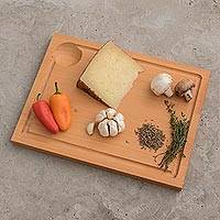 Wood cutting board, 'Natural Kitchen' - Hand Made Cypress Wood Cutting Board from Guatemala