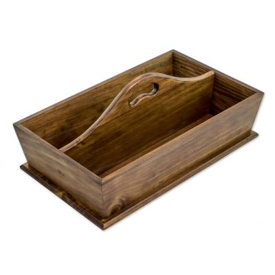 Handcrafted Cypress Wood Catchall with Handle from Guatemala