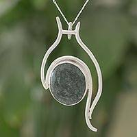 Jade pendant necklace, 'Mayan Cascade' - Abstract Dark Green Jade Pendant Necklace from Guatemala