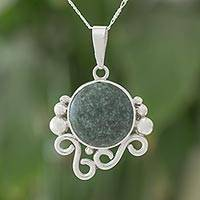 Jade pendant necklace, 'Windy Green' - Dark Green Jade Spiral Pendant Necklace from Guatemala