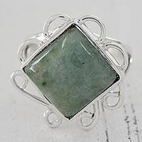 Jade cocktail ring, 'Loving Murmur' - Green Jade Square Cocktail Ring from Guatemala