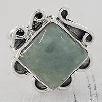 Jade cocktail ring, 'Earthen Map' - Light Green Jade Square Cocktail Ring from Guatemala