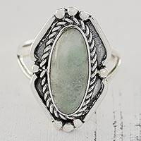 Jade cocktail ring, 'Deep Lake in Light Green' - Light Green Jade Oval Cocktail Ring from Guatemala
