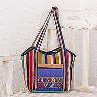 Cotton tote handbag, 'Textile Magic' - Hand Woven Striped Cotton Tote Handbag from Guatemala