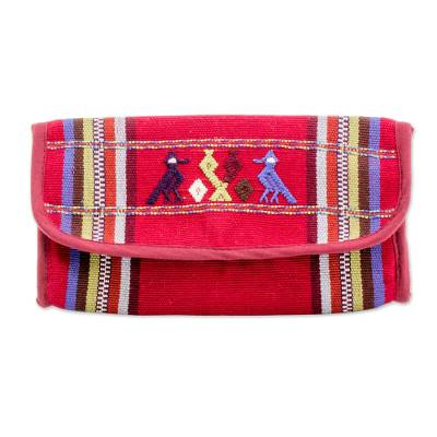 Cotton wallet, 'Bird Trills' - Hand Woven Cotton Wallet in Cherry from Guatemala
