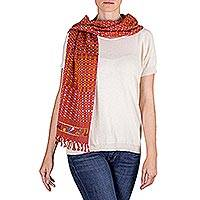 Cotton scarf, 'Maya Saffron Sunset' - Handwoven Saffron and Claret Cotton Scarf with Maya Motifs