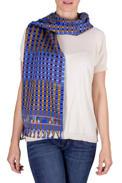 Cotton scarf, 'Sunrise Among the Clouds' - Guatemalan Handwoven Striped Cotton Scarf in Blue and Yellow