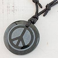 Jade pendant necklace, 'Hope and Peace' - Adjustable Jade Pendant Necklace from Guatemala