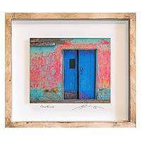 Photo collage, 'House of the Blue Door' - 3D Photo Collage of a Blue Door by a Guatemalan Artist