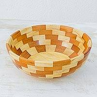Mahogany wood salad bowl, 'Maya Stairway' - Fair Trade Artisan Crafted Mahogany Palo Blanco Wood Bowl