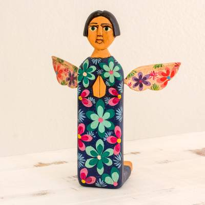 Hand Carved And Painted Wood Angel Sculpture From Guatemala Sky Angel