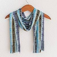 Rayon chenille scarf, 'Multicolor Blue Bamboo' - Hand Woven Rayon Scarf in Shades of Blue and Lilac