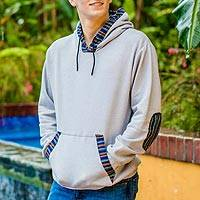 Men's fleece hoodie, 'Mountain Adventure' - Men's Fleece Pullover Hoodie from Guatemala