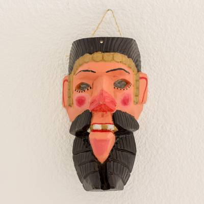 Spanish Conquistador Pinewood Dance Wall Mask from Guatemala, 'Conquistador  Dancer'