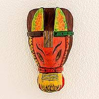 Wood mask, 'Smiling Horse' - Smiling Horse Pinewood Handmade Wall Mask from Guatemala