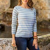 Cotton sweater, 'Wedgwood Horizon' - Women's Blue and Ivory Striped Soft Cotton Pullover Sweater