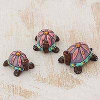 Ceramic figurines, 'Pink Tropical Turtles' (set of 3) - 3 Handmade Ceramic Turtle Figurines with Pink Floral Shells
