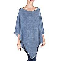 Recycled denim poncho, 'Denim Grace' - Recycled Denim and Cotton Poncho from Guatemala