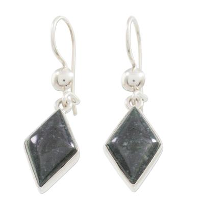 Very Dark Green Jade and Sterling Silver Dangle Earrings