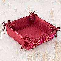 Cotton serving basket, 'Signals of Love' - Handwoven Cotton Serving Basket in Cranberry from Guatemala