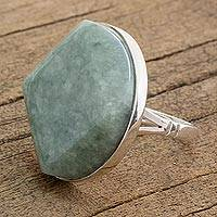 Jade cocktail ring, 'Love's Cycles in Apple Green' - Handcrafted Apple Green Maya Jade Ring in Sterling Silver