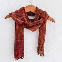 Rayon chenille scarf, 'Orange Dreamer' - Handwoven Rayon Scarf in Orange and Red from Guatemala