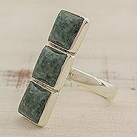 Jade cocktail ring, 'Mayan Style' - Square Jade and Sterling Silver Cocktail Ring from Guatemala