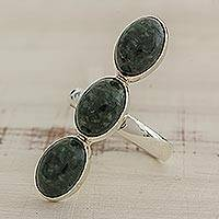 Jade cocktail ring, 'Maya Kings in Dark Green' - Dark Green Oval Jade Cocktail Ring from Guatemala