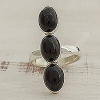 Jade cocktail ring, 'Maya Kings in Black' - Black Oval Jade and Silver Cocktail Ring from Guatemala