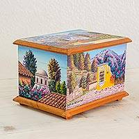 Cedar wood decorative box, 'Treasures of My Homeland' - Scenes of Guatemala Hand Painted on Cedar Decorative Box
