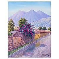 'Colonial Guardians of Antigua' - Street Scene of Antigua Guatemala in Oils on Canvas