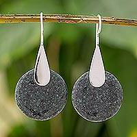 Jade drop earrings, 'Xareni Princess' - Dark Green Modern Jade Drop Earrings from Guatemala