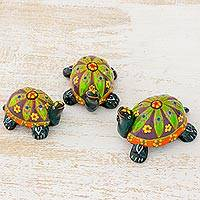 Ceramic figurines, 'Green Tropical Turtles' (set of 3) - 3 Ceramic Turtle Figurines with Green Floral Shells